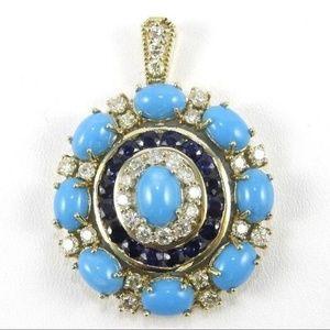 Jewelry - Turquoise, Diamond Sapphire Pendant 14K YG 13.19Ct